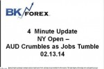 BK VIDEO 4 Minute Update NY Open – AUD Crumbles as Jobs Tumble 02.13.14