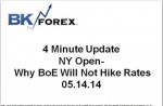BK VIDEO – 4 Minute Update NY Open- Why BoE Will Not Hike Rates 05.14.14