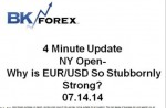 BK VIDEO -4 Minute Update NY Open- Why is EUR/USD So Stubbornly Strong? 07.14.14