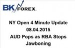 BK VIDEO NY Open 4 Minute Update 08.04.2015 AUD Pops as RBA Stops Jawboning