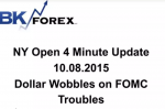 BK VIDEO NY Open 4 Minute Update 10.08.2015 Dollar Wobbles on FOMC Troubles