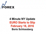 4 Minute NY Update EURO Starts to Slip February 18, 2016