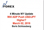 4 Minute NY Update Will ADP Push USD/JPY Higher? March 02, 2016