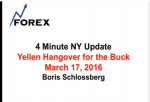 4 Minute NY Update Yellen Hangover for the Buck March 17, 2016