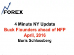 4 Minute NY Update Buck Flounders ahead of NFP April 1, 2016