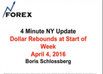 4 Minute NY Update Dollar Rebounds at Start of Week April 4, 2016