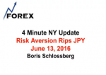 4 Minute NY Update Risk Aversion Rips JPY June 13, 2016