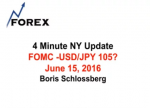 4 Minute NY Update FOMC -USD/JPY 105? June 15, 2016
