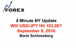 4 Minute NY Update Will USD/JPY Hit 103.00? September 9, 2016